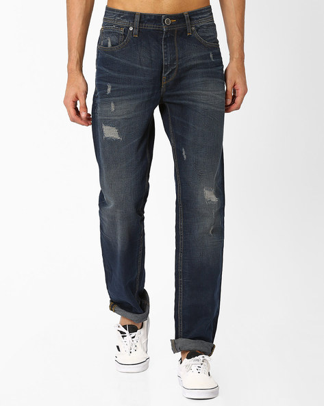 Lightly Washed Distressed Jeans By VOI JEANS ( Blue )
