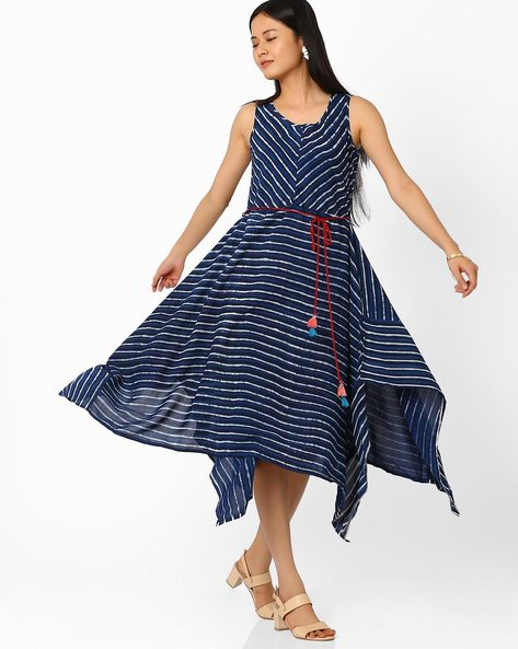 Dress With Dipped Hem By Global Desi ( Multi )