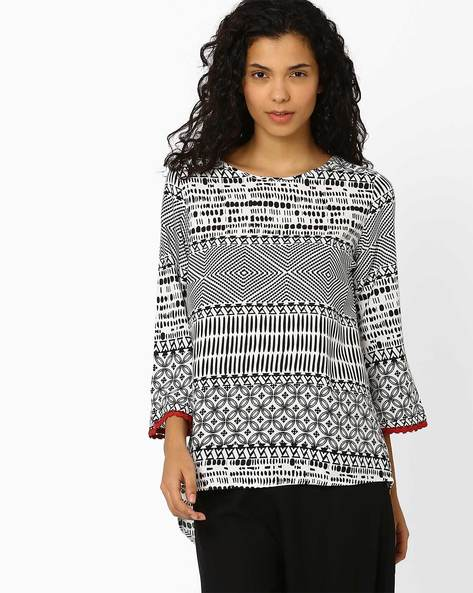 Printed Top With Overlapping Back By Global Desi ( Multi )