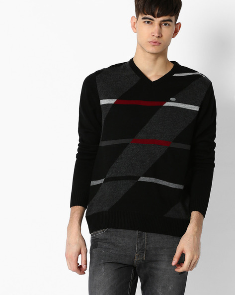 Regular Fit Pullover With Geometric Pattern By NETPLAY ( Black )
