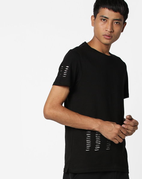Crew-Neck T-shirt With Cut-Outs By AJIO ( Black )