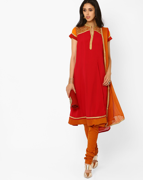 Churidar Kurta With Dupatta By AJIO ( Red )