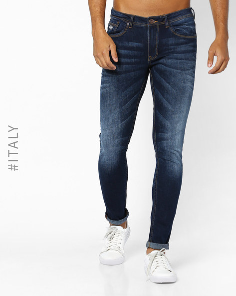 Lightly Washed Slim Fit Jeans By ALCOTT ( Navyblue )