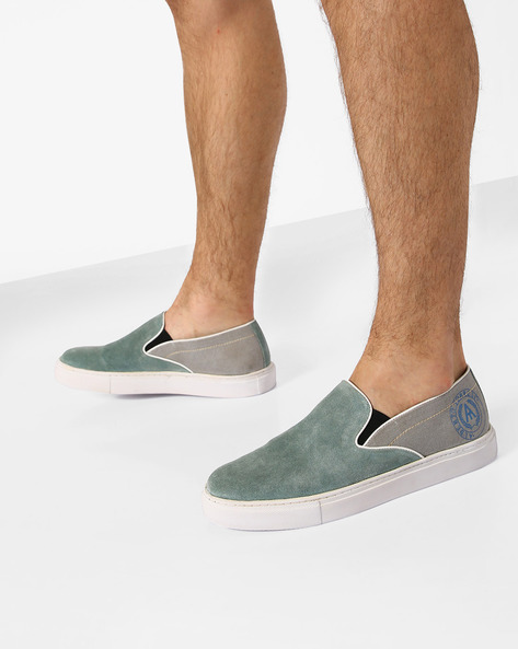 Denim Casual Shoes With Elasticated Gussets By ALBERTO TORRESI ( Seagreen )