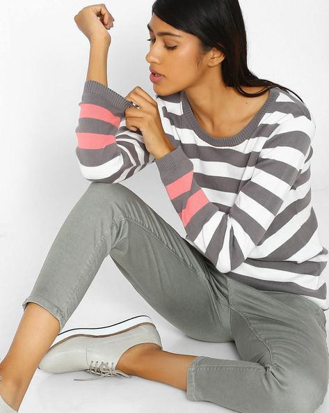 Cotton Striped Pullover By Teamspirit ( Charcoal )