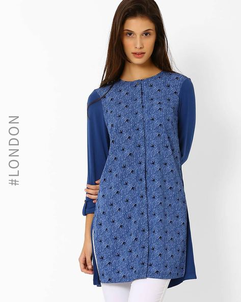 Printed Front Tunic With Roll-up Tabs By Marks & Spencer ( Navyblue )