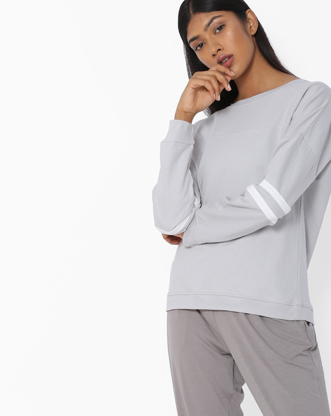 Crew-Neck Sweatshirt With Ribbed Hems By Blue Saint ( Grey )