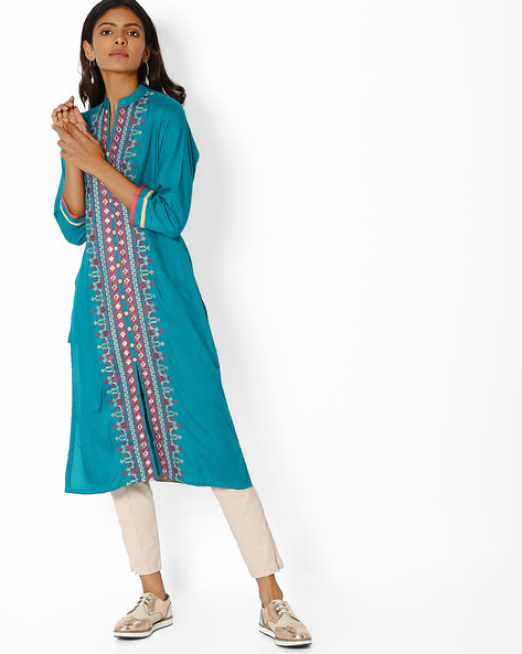 Embroidered Straight Kurta With Front-Slit Hem By Purple Tree ( Green )