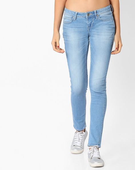 Lightly Washed Slim Jeans By Lee ( Blue )