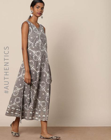 Kashish Dabu Hand-Block Print Cotton Dress By Indie Picks ( Grey )