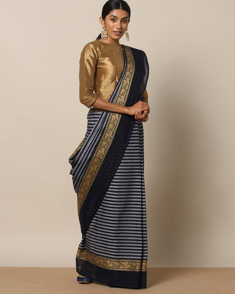 Kanchi Cotton Saree With Woven Border By Indie Picks ( Blue ) - 460164699001