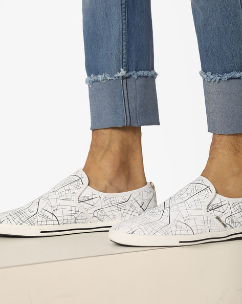City Lines Printed Slip-On Shoes By Jack & Jones ( White )