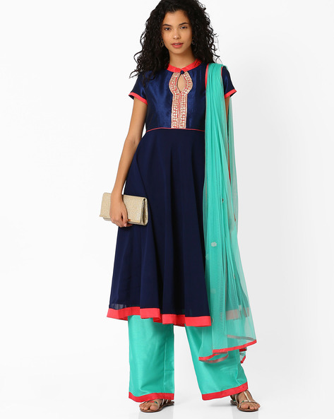 Anarkali Kurta Dupatta With Palazzo Pants By AJIO ( Navyblue )