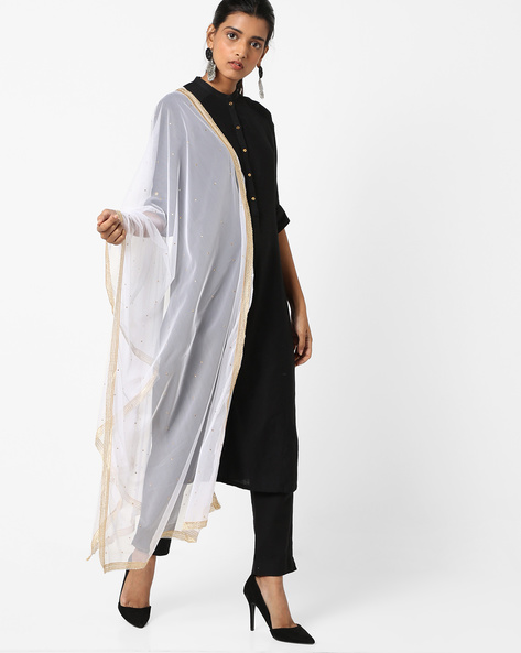 Embellished Net Dupatta With Contrast Borders By Dupatta Bazaar ( White )