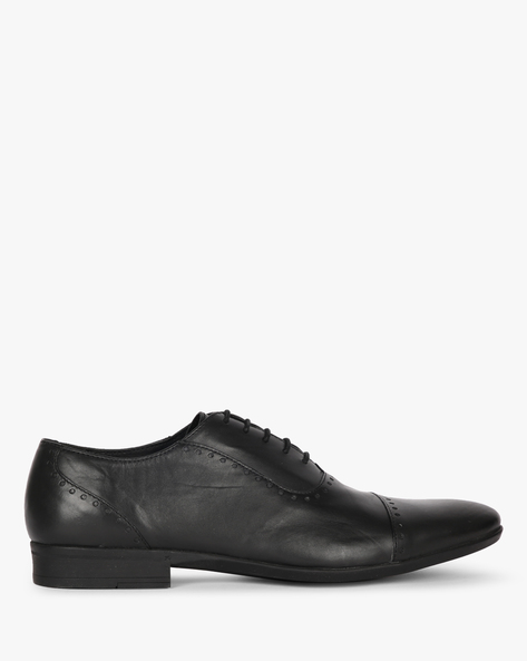 N9-Treated Oxford Shoes With Broguing By AJIO ( Black )