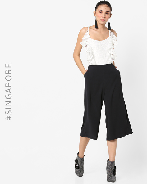 Colourblock Lace Jumpsuit With Flared Legs By MDS ( White )