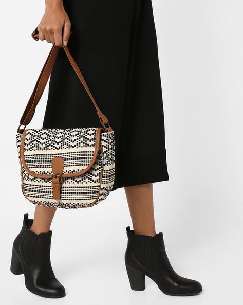 Jacquard Weave Sling Bag By Kanvas Katha ( Black ) - 460124258001