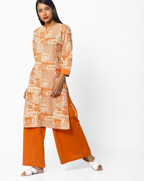All-Over Print Straight Kurta By AJIO ( Coral )