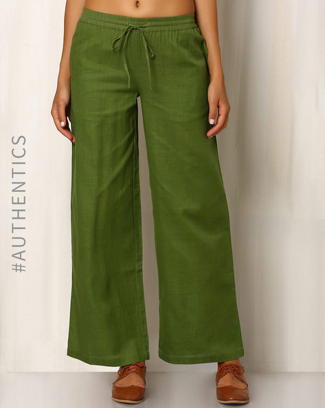Handwoven Khadi Cotton Straight Fit Pant By Red Sister Blue ( Green )