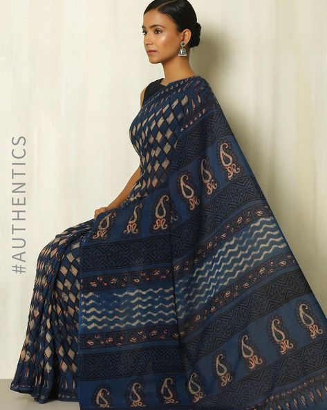 Tarapur Hand Block Print Indigo Cotton Saree By Indie Picks ( Indigo )