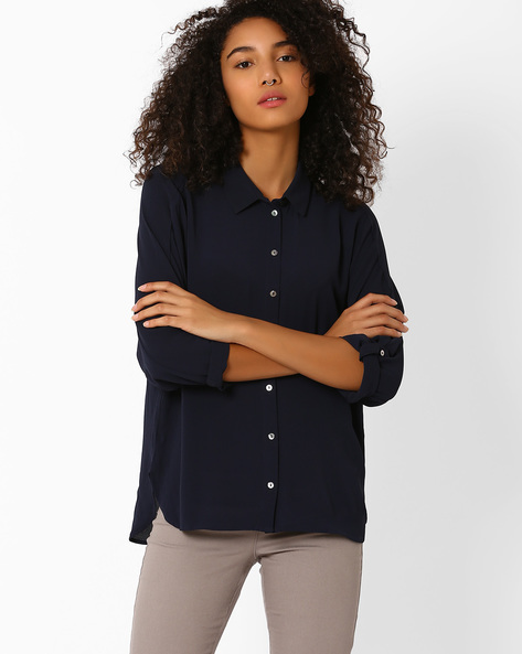 High-Low Shirt With Keyhole By Only ( Blue )