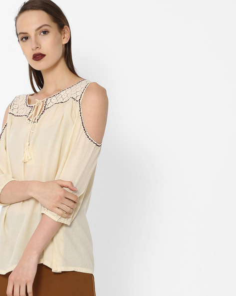 Woven Top With Cold-Shoulder Sleeves By Project Eve WW Casual ( Beige )