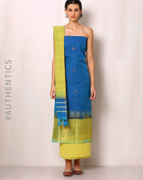 Handwoven Cotton Dress Material By Indie Picks ( Blue )