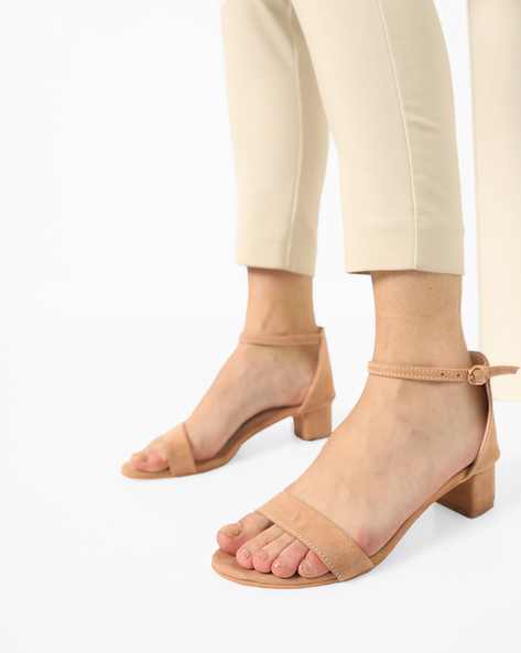 Chunky Heeled Sandals With Ankle Strap By MFT Couture ( Beige )