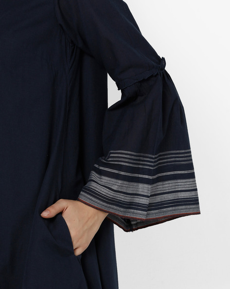 V-neck Shift Dress With Bell Sleeves By Project Eve WW Casual ( Navy )