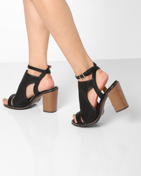 Textured Heeled Sandals By AJIO ( Black )