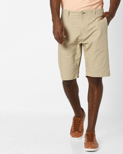 Mid-Rise Flat Front Shorts By NETPLAY ( Stone )