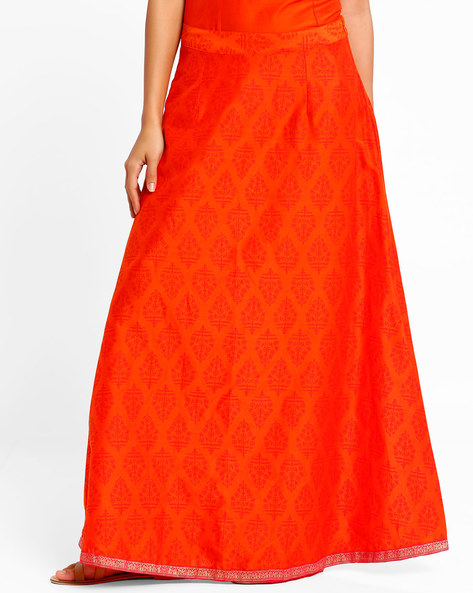 Block Print Maxi Skirt By AJIO ( Orange )