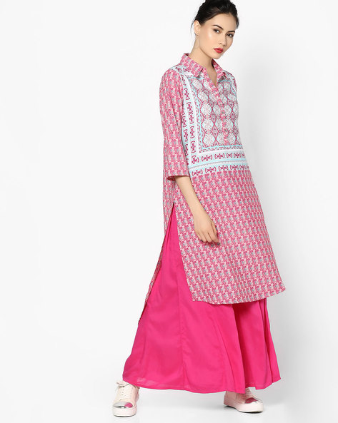 Printed High-Low Kurta With Collar By Melange By Lifestyle ( Aqua )