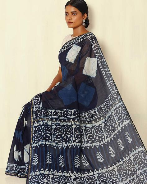 Handblock Print Indigo Chanderi Saree With Zari Border By Indie Picks ( Indigo ) - 460053749001