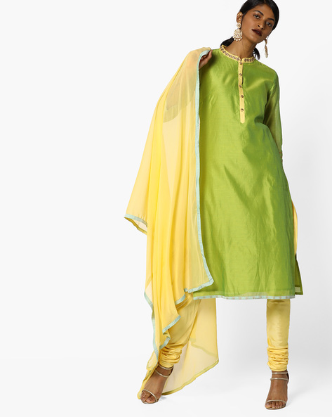 Churidar Kurta With Contrast Dupatta Set By AJIO ( Limegreen )