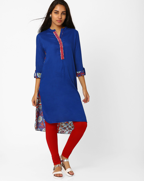 High-Low Kurta With Printed Back By Indian Ink ( Navyblue )