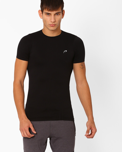 Seamless Compression Slim Fit T-shirt By PROLINE ( Black )