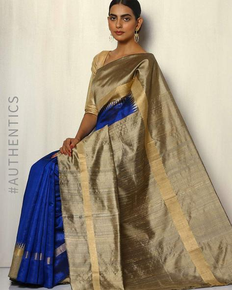 Pure Silk Dupion Handloom Saree With Temple Border By Pretty Woman ( Navy )
