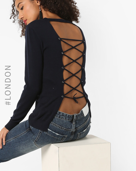 Open-Back Top With Tie-Up By Glamorous ( Navyblue )