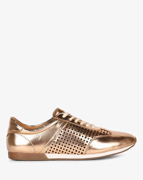 Lace-Up Casual Shoes With Brogue Detail By AJIO ( Rosegold )