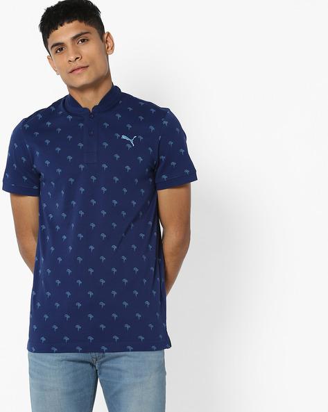 Tropical Print Polo T-shirt By Puma ( Blue )