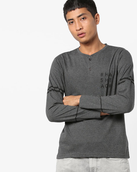 Full Sleeves Henley T-shirt By AJIO ( Grey )
