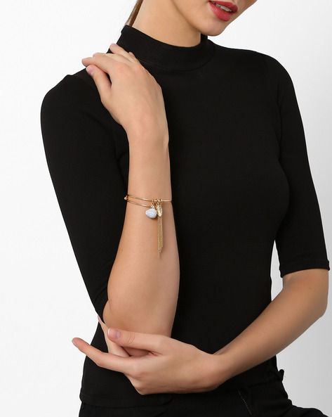Metal Bracelet With Fringes By AJIO ( Gold )
