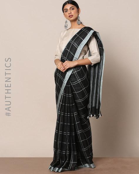 Handloom Pure Linen Checked Saree By Indie Picks ( Black )