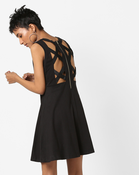 Embellished Skater Dress With Criss-Cross Back By AJIO ( Black )