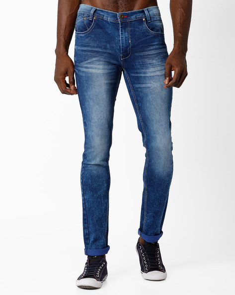 Lightly Washed Skinny Fit Jeans By DNM X ( Mediumblue )