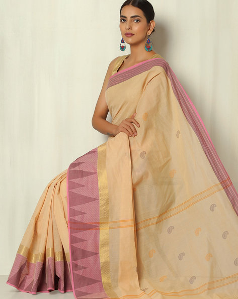 Kanchi Cotton Saree With Woven Temple Border By Indie Picks ( Cream )