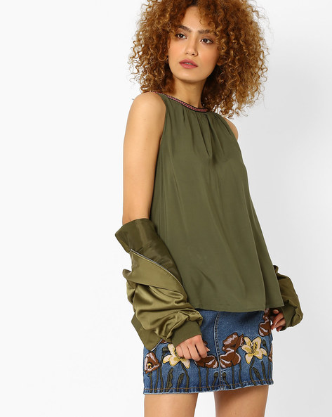 Sleeveless Top With Contrast Taping By Vero Moda ( Green )