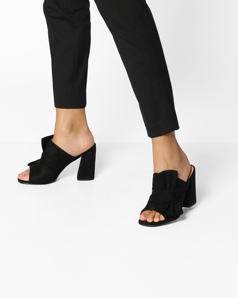 Suede Block Heels With Bow Detail By AJIO ( Black )