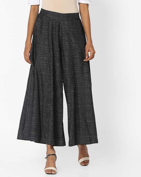 Printed Palazzo Pants With Elasticated Waist By W ( Black )
